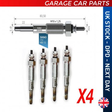 4X Glow Plug Kia Pregio 1997-2006 XM3412A342BA