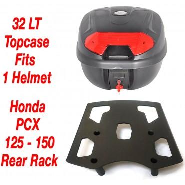 32 LT Top Case Set & Honda PCX 125 150 rear rack 2010-2020 - UK Stock