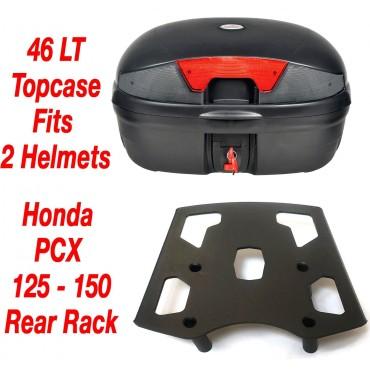 Motorcycle Universal Top Box 46L & Honda PCX 125 150 Rear Rack 2010-2020