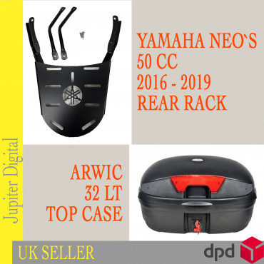 Rear Carrier Rack & 32 Litre Top Case Luggage fits Yamaha Neo's 50 cc 2016-2019