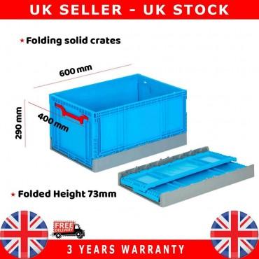 10X Commercial Stackable Foldable Plastic Eurobox Container Storage Boxes 400X600X290