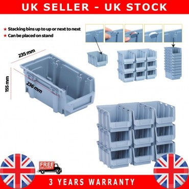 10X Plastic Storage Bins Boxes stackable space bin container box 155X235X125 mm