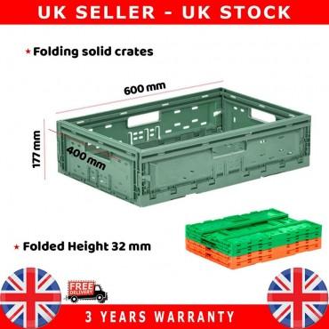 10X Commercial Stackable Foldable Plastic Eurobox Container Storage Boxes 400X600X177